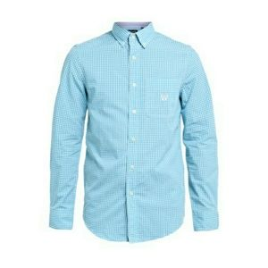 Chaps Easy Care Long Sleeve Blue Check Shirt